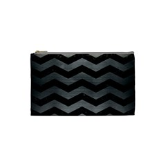 Chevron3 Black Marble & Gray Brushed Metal Cosmetic Bag (small)  by trendistuff