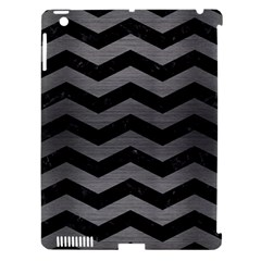 Chevron3 Black Marble & Gray Brushed Metal Apple Ipad 3/4 Hardshell Case (compatible With Smart Cover) by trendistuff