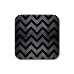 Chevron9 Black Marble & Gray Brushed Metal Rubber Square Coaster (4 Pack)
