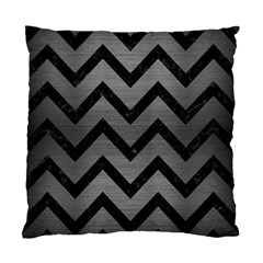 Chevron9 Black Marble & Gray Brushed Metal Standard Cushion Case (one Side) by trendistuff