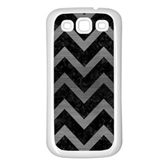 Chevron9 Black Marble & Gray Brushed Metal (r) Samsung Galaxy S3 Back Case (white) by trendistuff