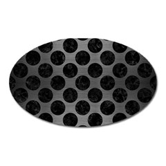 Circles2 Black Marble & Gray Brushed Metal Oval Magnet by trendistuff