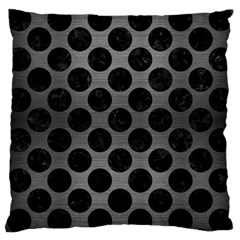 Circles2 Black Marble & Gray Brushed Metal Large Cushion Case (one Side) by trendistuff