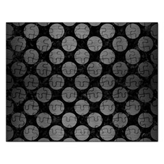 Circles2 Black Marble & Gray Brushed Metal (r) Rectangular Jigsaw Puzzl by trendistuff