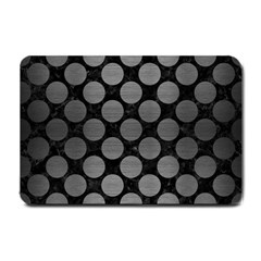 Circles2 Black Marble & Gray Brushed Metal (r) Small Doormat  by trendistuff