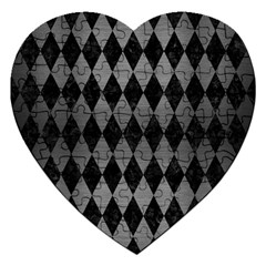 Diamond1 Black Marble & Gray Brushed Metal Jigsaw Puzzle (heart) by trendistuff