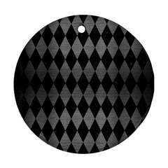 Diamond1 Black Marble & Gray Brushed Metal Round Ornament (two Sides) by trendistuff