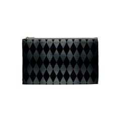 Diamond1 Black Marble & Gray Brushed Metal Cosmetic Bag (small)  by trendistuff