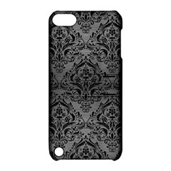 Damask1 Black Marble & Gray Brushed Metal Apple Ipod Touch 5 Hardshell Case With Stand by trendistuff