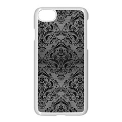 Damask1 Black Marble & Gray Brushed Metal Apple Iphone 8 Seamless Case (white) by trendistuff
