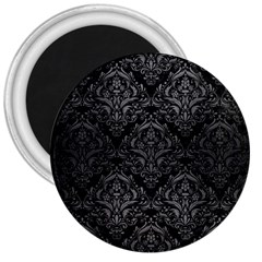 Damask1 Black Marble & Gray Brushed Metal (r) 3  Magnets