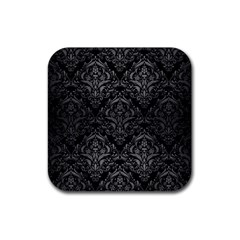 Damask1 Black Marble & Gray Brushed Metal (r) Rubber Square Coaster (4 Pack)