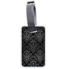 Damask1 Black Marble & Gray Brushed Metal (r) Luggage Tags (one Side)  by trendistuff
