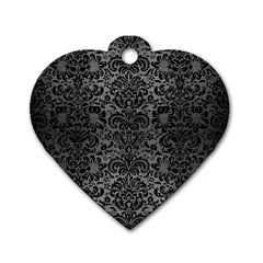 Damask2 Black Marble & Gray Brushed Metal Dog Tag Heart (one Side) by trendistuff