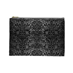 Damask2 Black Marble & Gray Brushed Metal Cosmetic Bag (large)  by trendistuff