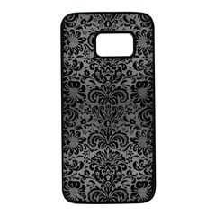 Damask2 Black Marble & Gray Brushed Metal Samsung Galaxy S7 Black Seamless Case by trendistuff