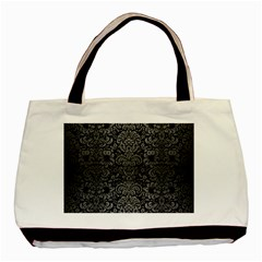 Damask2 Black Marble & Gray Brushed Metal (r) Basic Tote Bag by trendistuff