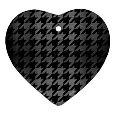 Houndstooth1 Black Marble & Gray Brushed Metal Heart Ornament (two Sides) by trendistuff
