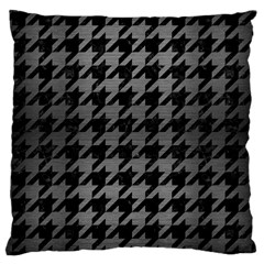 Houndstooth1 Black Marble & Gray Brushed Metal Large Cushion Case (two Sides) by trendistuff