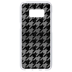 Houndstooth1 Black Marble & Gray Brushed Metal Samsung Galaxy S8 White Seamless Case by trendistuff