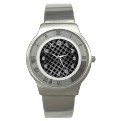 Houndstooth2 Black Marble & Gray Brushed Metal Stainless Steel Watch by trendistuff