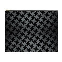 Houndstooth2 Black Marble & Gray Brushed Metal Cosmetic Bag (xl) by trendistuff