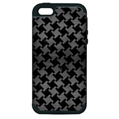 Houndstooth2 Black Marble & Gray Brushed Metal Apple Iphone 5 Hardshell Case (pc+silicone) by trendistuff