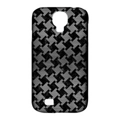 Houndstooth2 Black Marble & Gray Brushed Metal Samsung Galaxy S4 Classic Hardshell Case (pc+silicone) by trendistuff