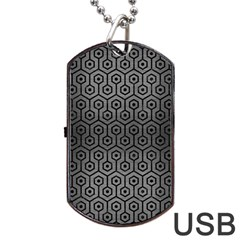 Hexagon1 Black Marble & Gray Brushed Metal Dog Tag Usb Flash (two Sides) by trendistuff