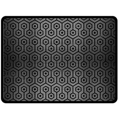Hexagon1 Black Marble & Gray Brushed Metal Double Sided Fleece Blanket (large)  by trendistuff