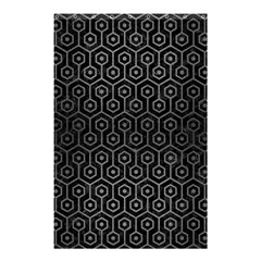 Hexagon1 Black Marble & Gray Brushed Metal (r) Shower Curtain 48  X 72  (small)  by trendistuff