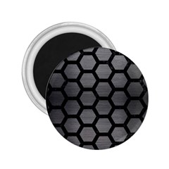 Hexagon2 Black Marble & Gray Brushed Metal 2 25  Magnets by trendistuff