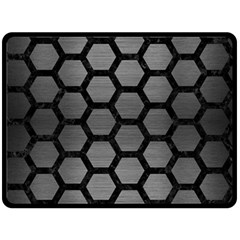 Hexagon2 Black Marble & Gray Brushed Metal Double Sided Fleece Blanket (large)  by trendistuff