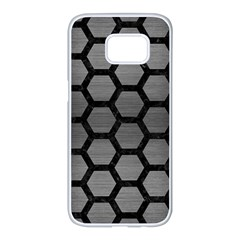 Hexagon2 Black Marble & Gray Brushed Metal Samsung Galaxy S7 Edge White Seamless Case by trendistuff