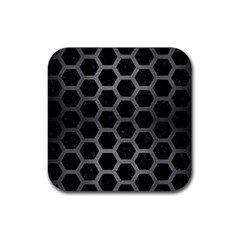 Hexagon2 Black Marble & Gray Brushed Metal (r) Rubber Square Coaster (4 Pack)  by trendistuff
