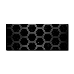 Hexagon2 Black Marble & Gray Brushed Metal (r) Cosmetic Storage Cases by trendistuff