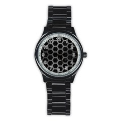 Hexagon2 Black Marble & Gray Brushed Metal (r) Stainless Steel Round Watch by trendistuff