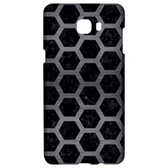 Hexagon2 Black Marble & Gray Brushed Metal (r) Samsung C9 Pro Hardshell Case