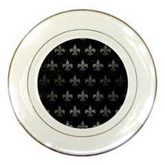 Royal1 Black Marble & Gray Brushed Metal Porcelain Plates by trendistuff