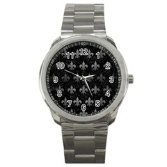 Royal1 Black Marble & Gray Brushed Metal Sport Metal Watch by trendistuff