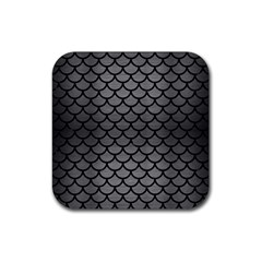 Scales1 Black Marble & Gray Brushed Metal Rubber Square Coaster (4 Pack)