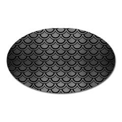 Scales2 Black Marble & Gray Brushed Metal Oval Magnet