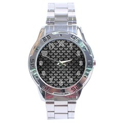 Scales3 Black Marble & Gray Brushed Metal Stainless Steel Analogue Watch by trendistuff
