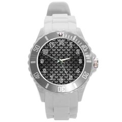 Scales3 Black Marble & Gray Brushed Metal Round Plastic Sport Watch (l) by trendistuff