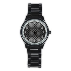 Scales3 Black Marble & Gray Brushed Metal Stainless Steel Round Watch by trendistuff
