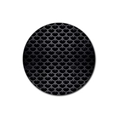 Scales3 Black Marble & Gray Brushed Metal (r) Rubber Coaster (round)  by trendistuff