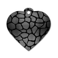 Skin1 Black Marble & Gray Brushed Metal (r) Dog Tag Heart (two Sides) by trendistuff