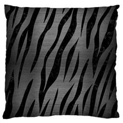 Skin3 Black Marble & Gray Brushed Metal Large Flano Cushion Case (one Side) by trendistuff