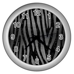 Skin4 Black Marble & Gray Brushed Metal Wall Clocks (silver)  by trendistuff