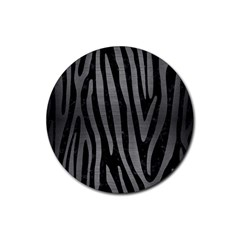 Skin4 Black Marble & Gray Brushed Metal Rubber Coaster (round)  by trendistuff